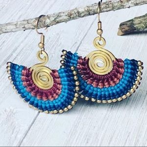 🍁COLORFUL Boho Beaded Fan Earrings, NIB